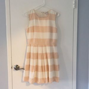 Peach and white striped dress